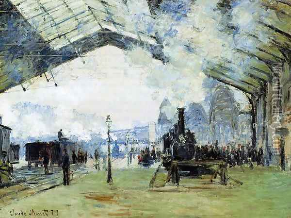 Arrival Of The Normandy Train Gare Saint Lazare Oil Painting - Claude Oscar Monet