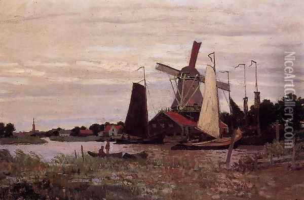 A Windmill At Zaandam Oil Painting - Claude Oscar Monet