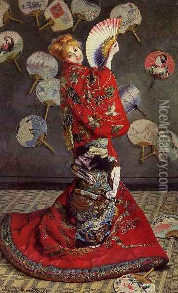 Camille Monet In Japanese Costume Oil Painting - Claude Oscar Monet