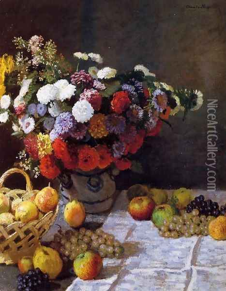 Flowers And Fruit Oil Painting - Claude Oscar Monet