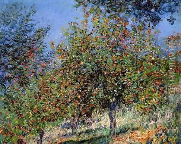 Apple Trees On The Chantemesle Hill Oil Painting - Claude Oscar Monet