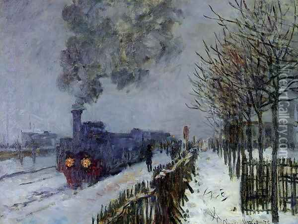 Train In The Snow The Locomotive Oil Painting - Claude Oscar Monet