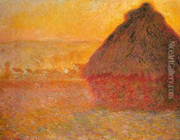Haystack at Sunset near Giverny Oil Painting - Claude Oscar Monet