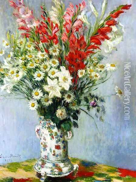 Bouquet Of Gadiolas Lilies And Dasies Oil Painting - Claude Oscar Monet