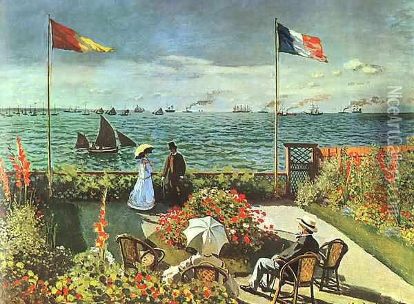 Terrace at the Seaside, Sainte-Adresse Oil Painting - Claude Oscar Monet