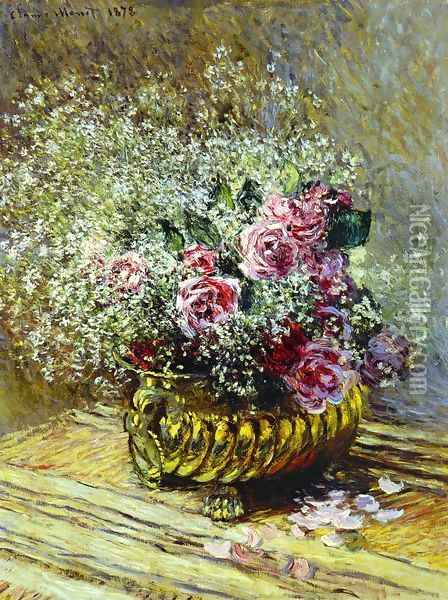Flowers In A Pot Aka Roses And Babys Breath Oil Painting - Claude Oscar Monet