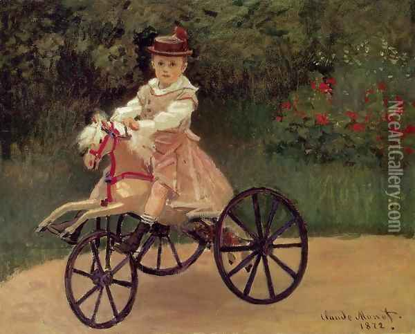 Jean Monet On His Horse Tricycle Oil Painting - Claude Oscar Monet