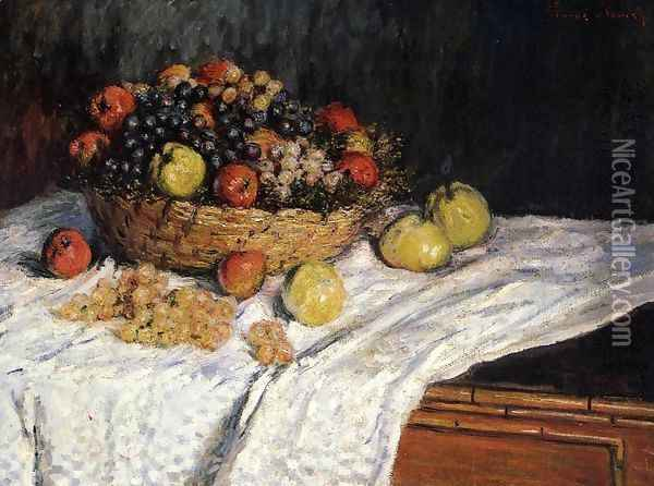 Fruit Basket With Apples And Grapes Oil Painting - Claude Oscar Monet