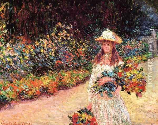 Young Girl In The Garden At Giverny Oil Painting - Claude Oscar Monet