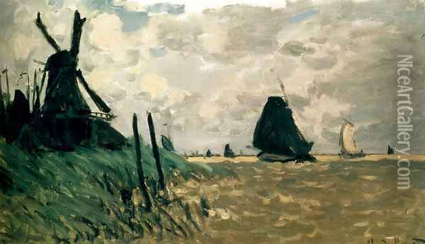 A Windmill Near Zaandam Oil Painting - Claude Oscar Monet