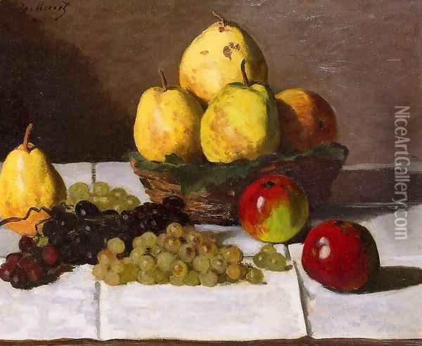 Still Life With Pears And Grapes Oil Painting - Claude Oscar Monet