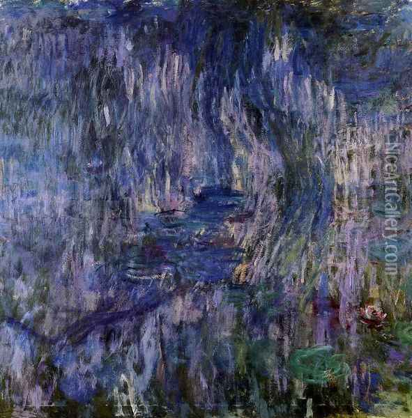 Water-Lilies, Reflection of a Weeping Willow Oil Painting - Claude Oscar Monet