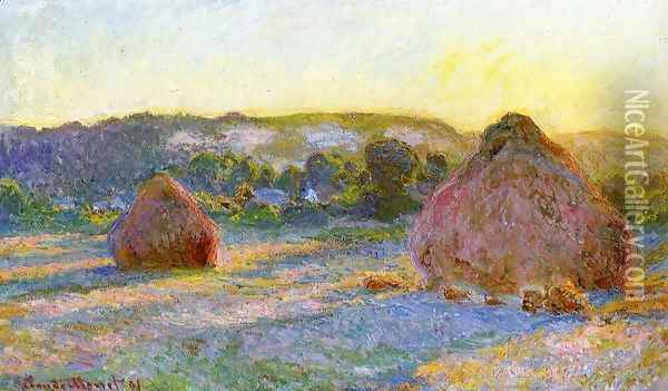Grainstacks At The End Of Summer Evening Effect Oil Painting - Claude Oscar Monet