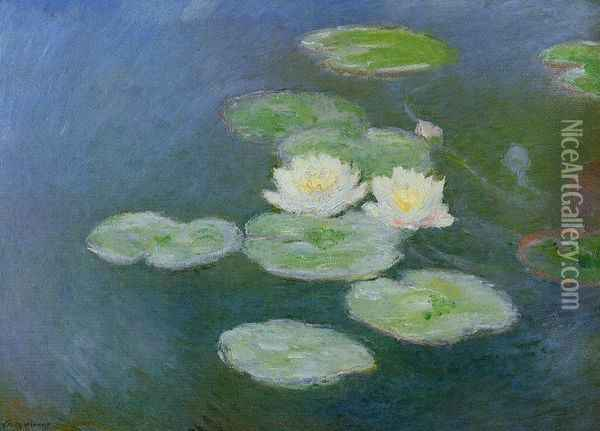 Water-Lilies, Evening Effect Oil Painting - Claude Oscar Monet