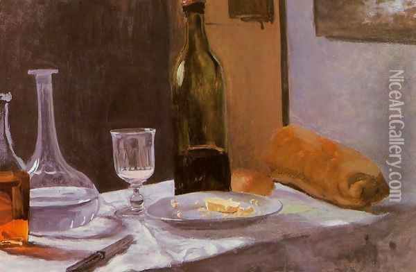 Still Life With Bottle Carafe Bread And Wine Oil Painting - Claude Oscar Monet