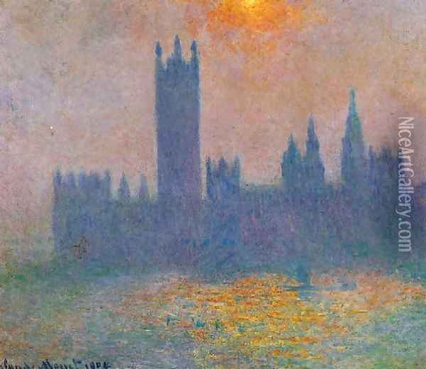 Houses Of Parliament Effect Of Sunlight In The Fog Oil Painting - Claude Oscar Monet
