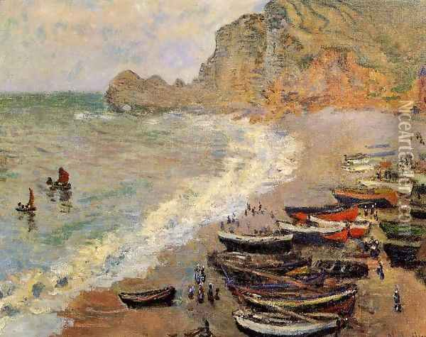 Beach At Etretat Oil Painting - Claude Oscar Monet