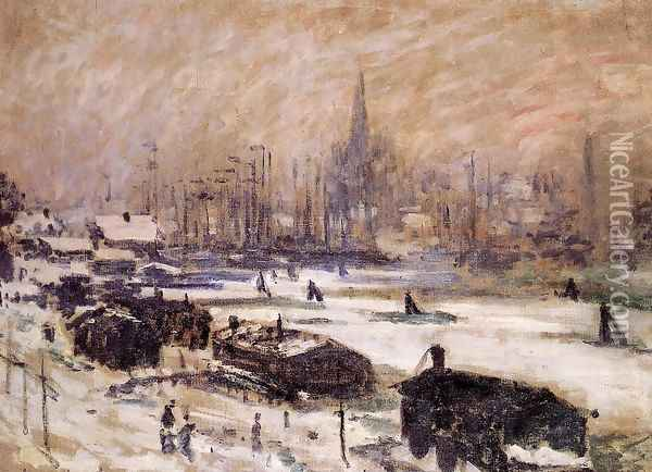Amsterdam In The Snow Oil Painting - Claude Oscar Monet