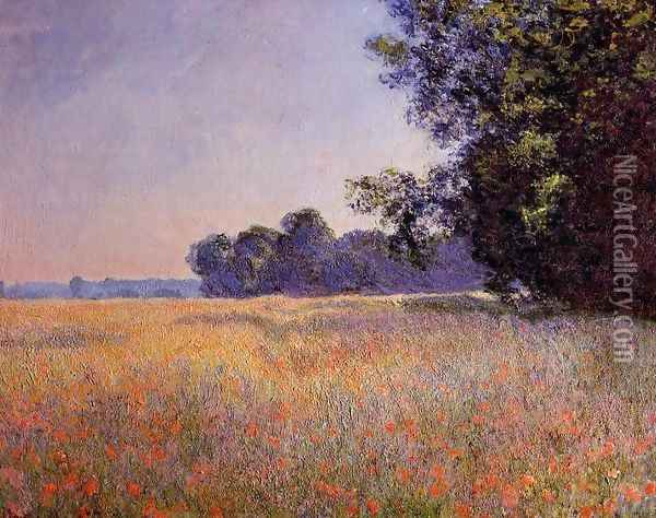 Oat And Poppy Field Giverny Oil Painting - Claude Oscar Monet
