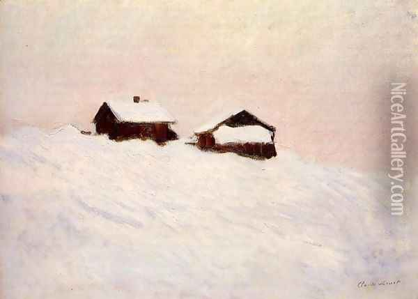 Houses In The Snow Norway Oil Painting - Claude Oscar Monet