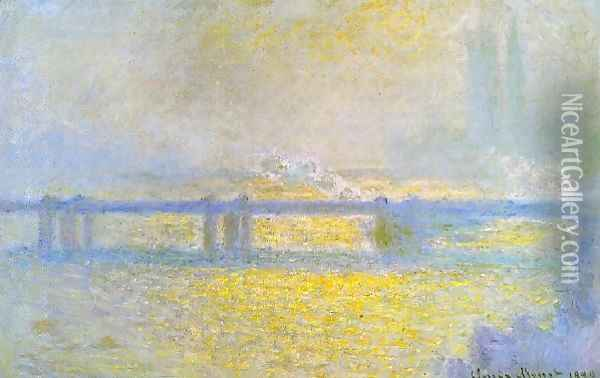 Charing Cross Bridge Overcast Weather Oil Painting - Claude Oscar Monet