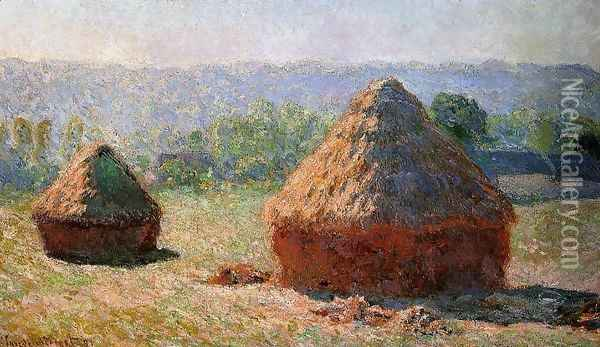 Grainstacks At The End Of Summer Morning Effect Oil Painting - Claude Oscar Monet