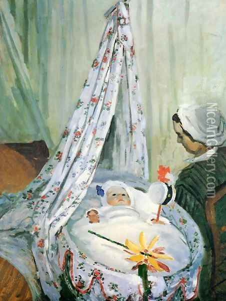 Jean Monet In His Cradle Oil Painting - Claude Oscar Monet