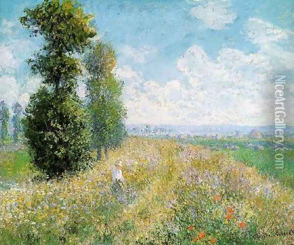 Meadow With Poplars Aka Poplars Near Argenteuil Oil Painting - Claude Oscar Monet