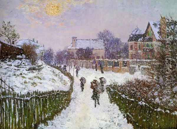 Boulevard St Denis Argenteuil Snow Effect Oil Painting - Claude Oscar Monet