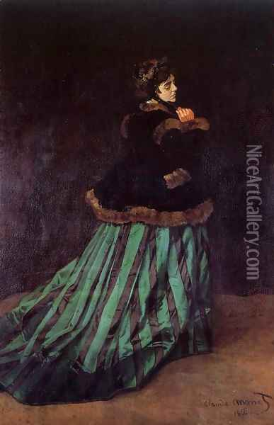Camille Aka The Woman In A Green Dress Oil Painting - Claude Oscar Monet