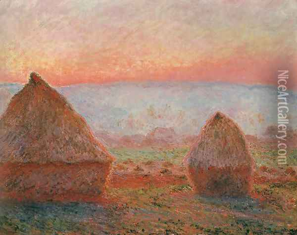 Les Meules à Giverny, soleil couchant (Haystacks at Giverny, the evening sun) Oil Painting - Claude Oscar Monet