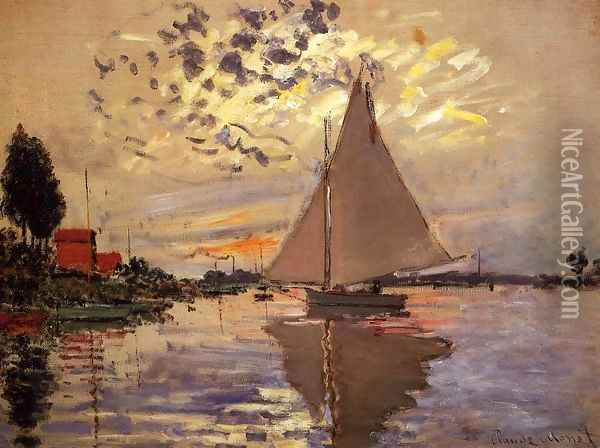 Sailboat At Le Petit Gennevilliers Oil Painting - Claude Oscar Monet