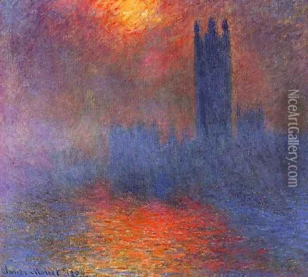 Houses Of Parliament Effect Of Sunlight In The Fog2 Oil Painting - Claude Oscar Monet