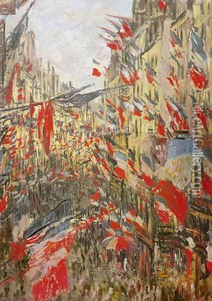 Rue Montorgueil Decked Out with Flags Oil Painting - Claude Oscar Monet