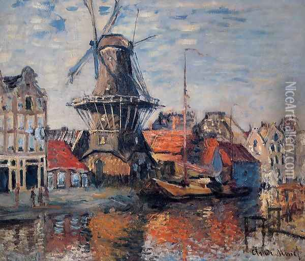 The Windmill On The Onbekende Canal Amsterdam Oil Painting - Claude Oscar Monet