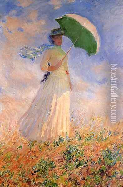Woman With A Parasol Facing Right Aka Study Of A Figure Outdoors (Facing Right) Oil Painting - Claude Oscar Monet