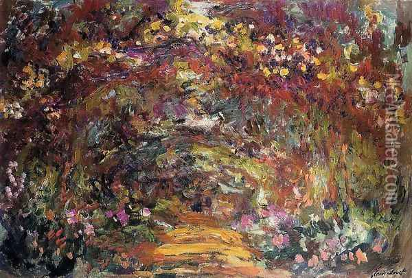 The Path Under The Rose Trellises Giverny Oil Painting - Claude Oscar Monet