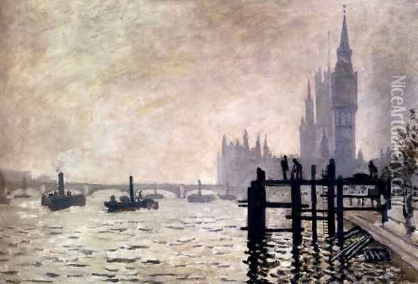 The Thames And The Houses Of Parliament Oil Painting - Claude Oscar Monet