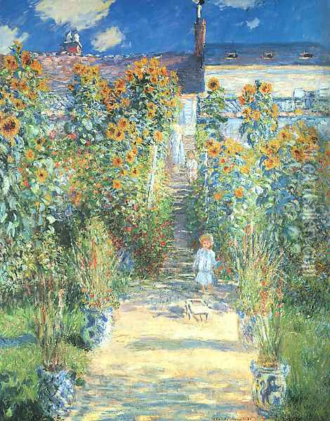 The Artist's Garden at Vetheuil 1880 Oil Painting - Claude Oscar Monet
