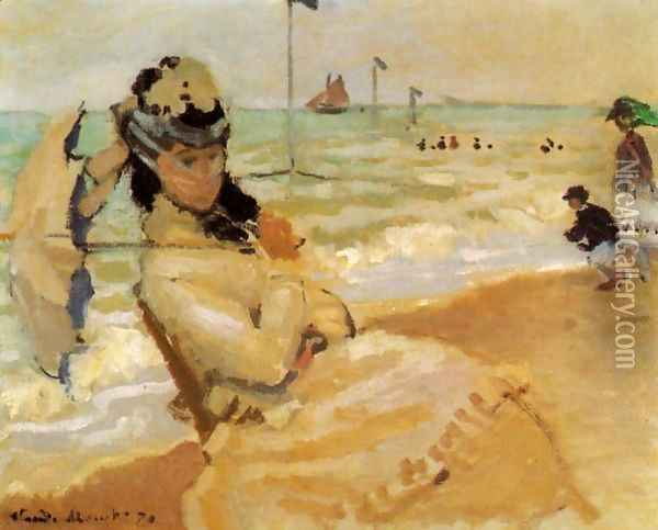 Camille On The Beach At Trouville Oil Painting - Claude Oscar Monet