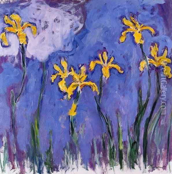 Yellow Irises With Pink Cloud Oil Painting - Claude Oscar Monet