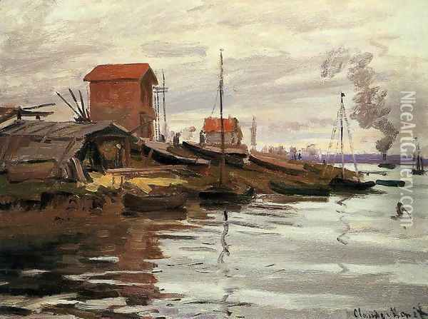 The Seine At Le Petit Gennevilliers Oil Painting - Claude Oscar Monet