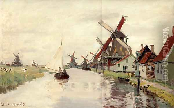 Windmills In Holland Oil Painting - Claude Oscar Monet