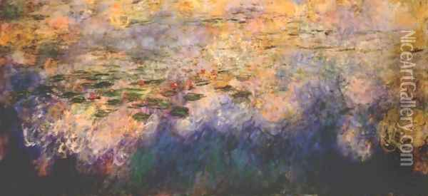 Reflections of Clouds on the Water-Lily Pond (tryptich, center panel) Oil Painting - Claude Oscar Monet