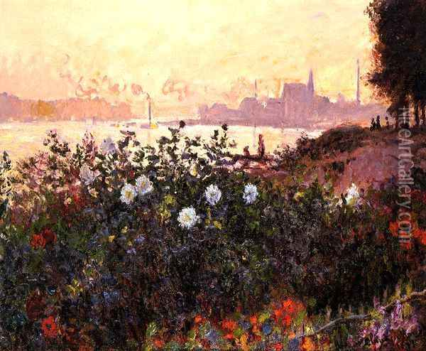 Argenteuil, Flowers by the Riverbank Oil Painting - Claude Oscar Monet