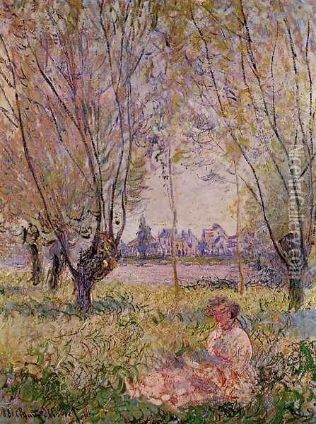 Woman Sitting Under The Willows Oil Painting - Claude Oscar Monet