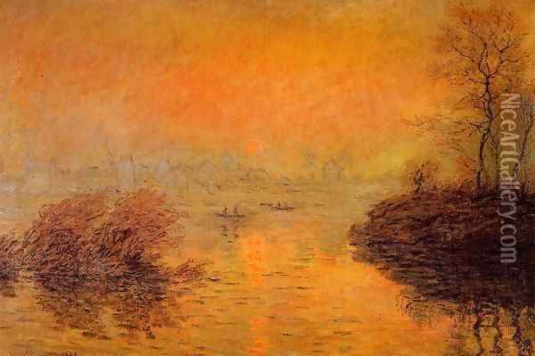 Sunset On The Seine At Lavacourt Winter Effect Oil Painting - Claude Oscar Monet