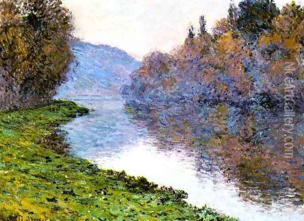 Banks Of The Seine At Jenfosse Clear Weather Oil Painting - Claude Oscar Monet