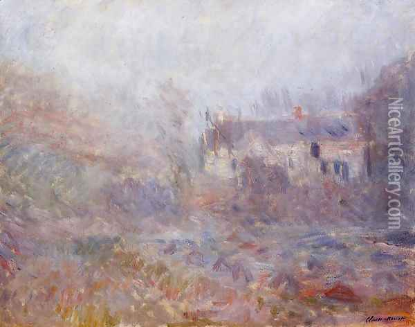Houses At Falaise In The Fog Oil Painting - Claude Oscar Monet