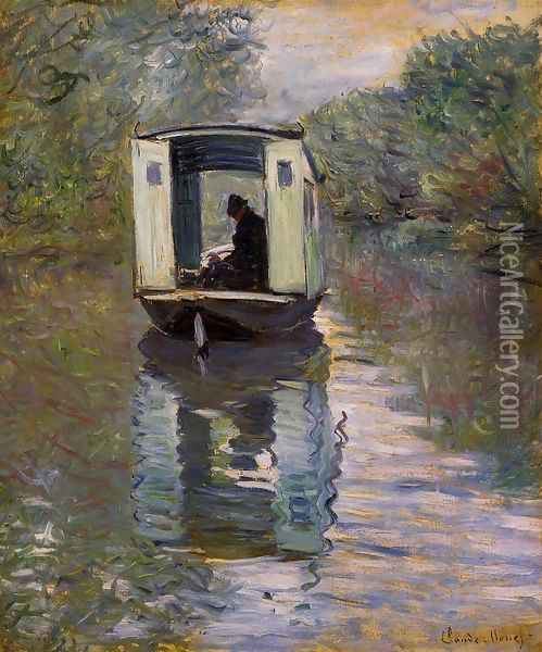 Le Bateau Atelier (The Boat Studio) Oil Painting - Claude Oscar Monet